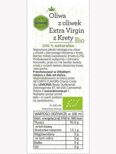 grecka oliwa z oliwek z krety skład