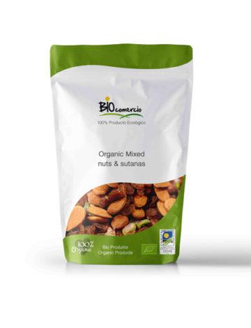 mieszanka organicznych orzechów i rodzynek biocomercio